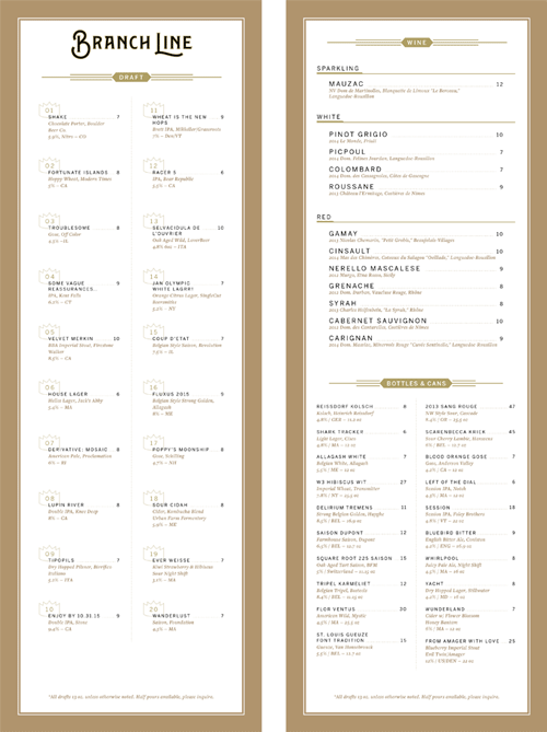 Branch Line Menu by Heart Creative Agency and Sean O'Connor
