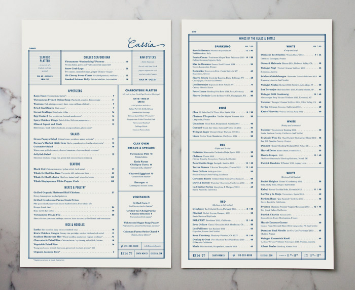 Cassia Menu by Strohl, Inc.