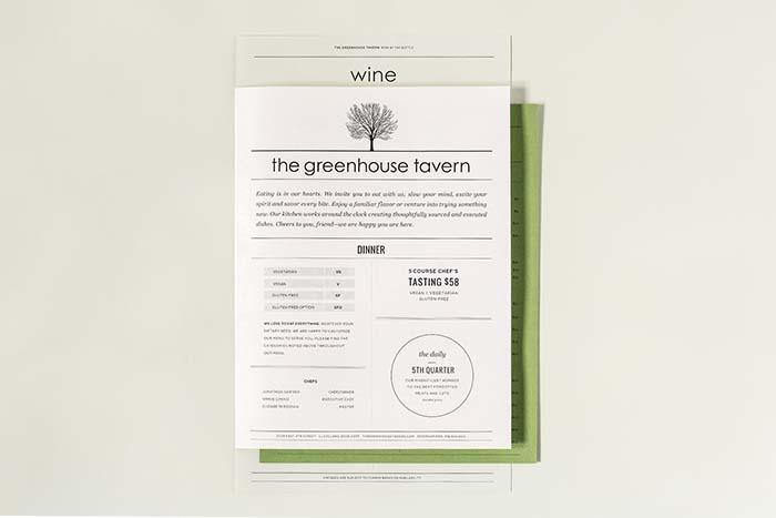 The Greenhouse Tavern Menu by Studio of Christine Wisnieski