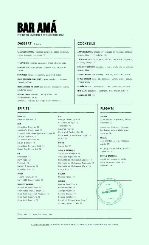 Bar Amá Menu by Project M Plus