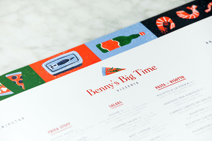 Benny's Big Time Pizzeria Menu by The Door