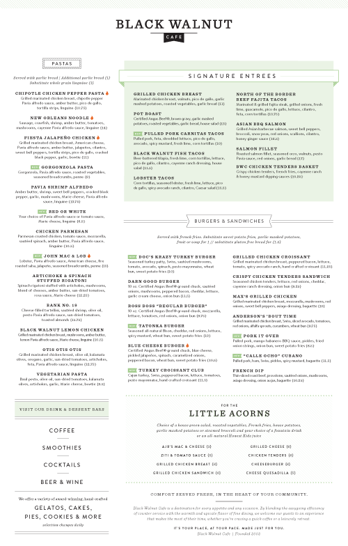 Black Walnut Menu by Principle