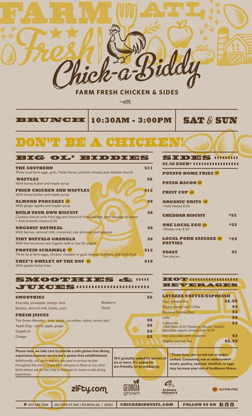 Art of the menu chick a biddy for Artistic cuisine menu