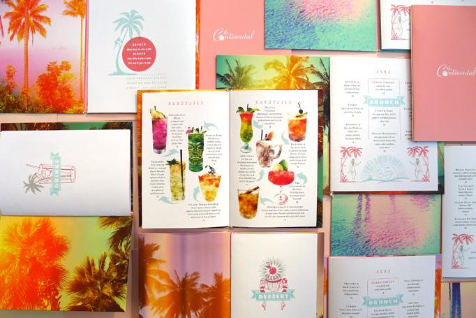 Continental Miami menu by de Vicq Design