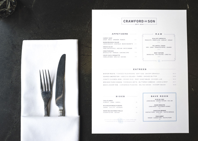 Crawford & Son Menu by Paul Tuorto