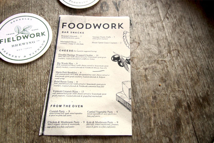 Fieldwork Brewing Co. Menu by Gamut