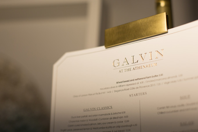 Galvin at The Athenaeum Menu by Kinnersley Kent Design