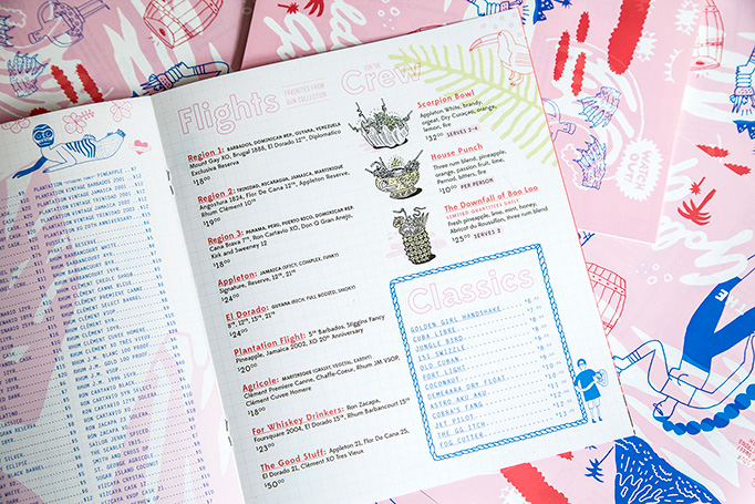 The Golden Girl Rum Club Menu by Frank Norton