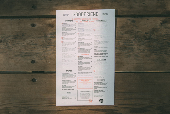 Goodfriend Menu by Tractorbeam