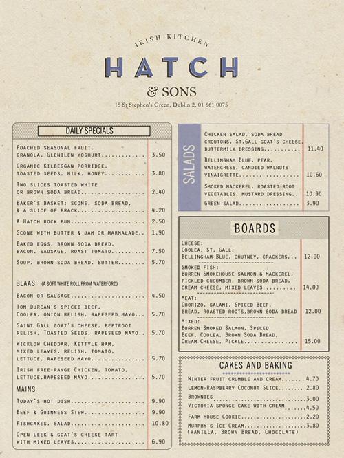 Art of the menu hatch sons irish kitchen