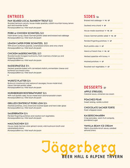 Jägerberg Beer Hall & Alpine Tavern Menu by American Design Language