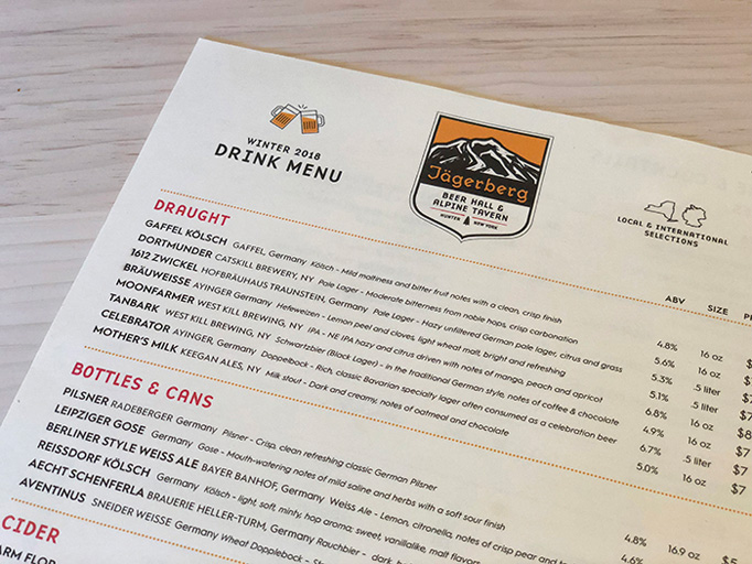 Jägerberg Beer Hall & Alpine Tavern Menu by American Design Language