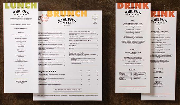 Joseph's Pizza Menu by Temper