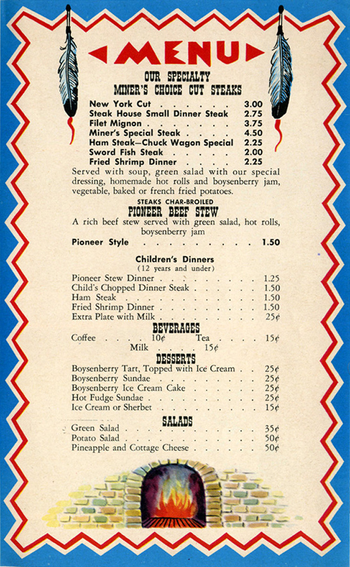 Art of the menu ghost town grill - Carte restaurant buffalo grill ...