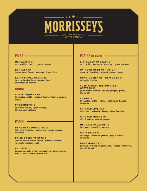 Morrissey's Menu by Might & Main