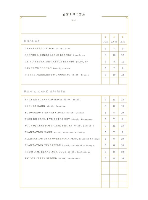 Orange Blossom Menu by Principle