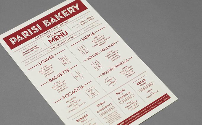 art of the menu parisi bakery