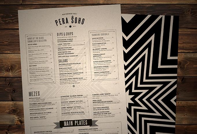 Pera Soho menu by Passion & Poison Studio