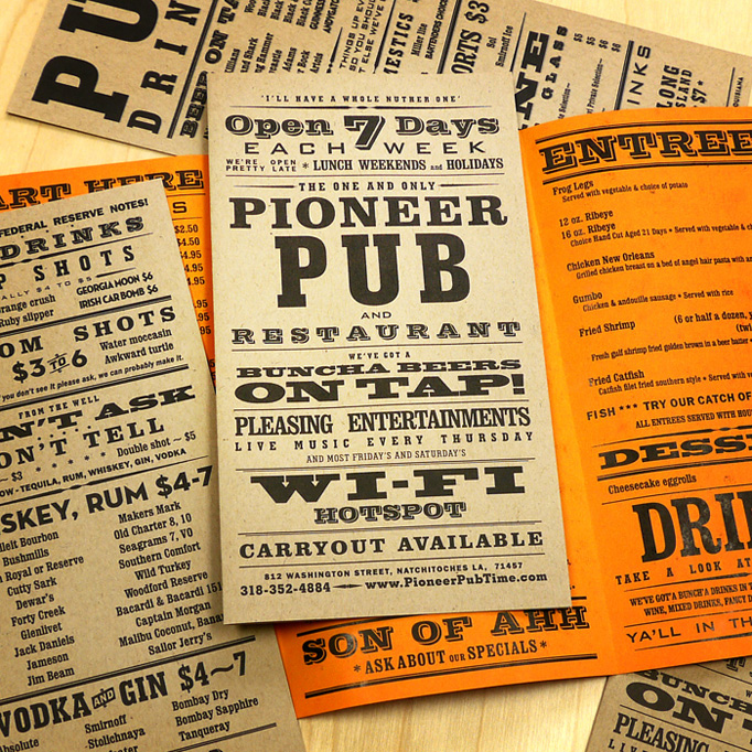 Art of the menu pioneer pub for Artistic cuisine menu