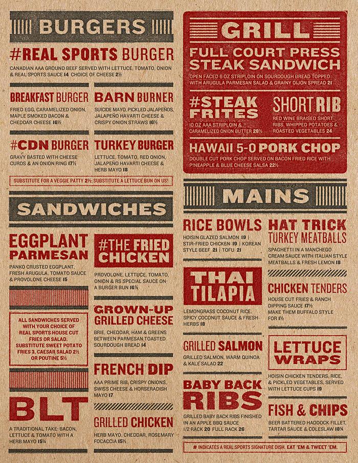 Real sports bar amp grill menu by jarheadesign