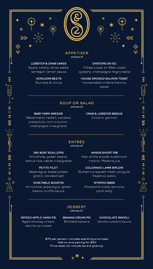 Saint and Second New Year's Eve Menu done In-house