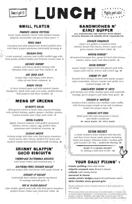 Southern Kin Food Menus by Stebbings Partners