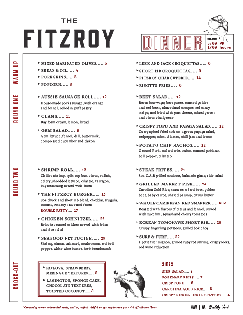 The Fitzroy Menu by Taylor Alley