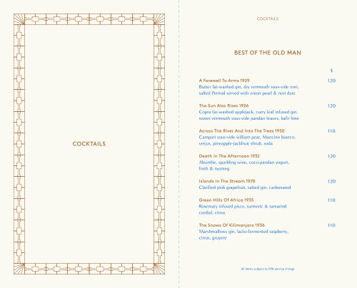 The Old Man menu by Oddity Studio