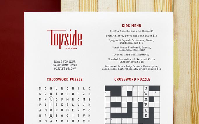 Topside Menu by Younts Design Inc.