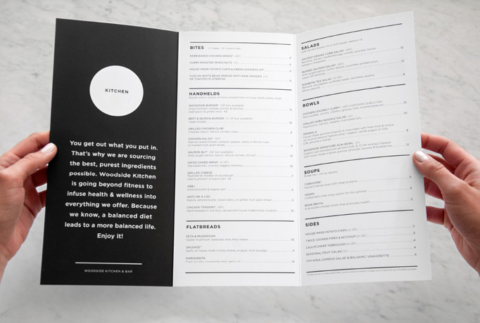 Woodside Kitchen & Bar Menu by Design Ranch