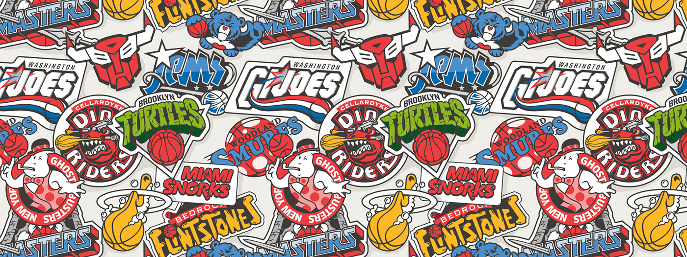 NBA Team Logos as 1980s Cartoons