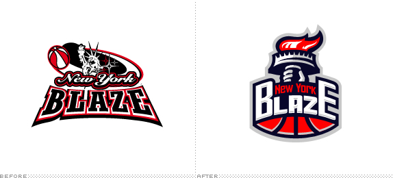 New York Blaze Logo, Before and After