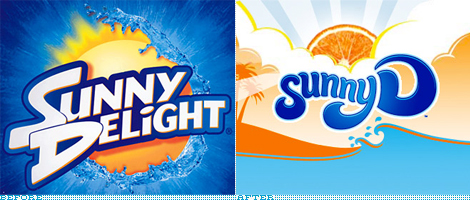 Sunny D Logo, Before and After