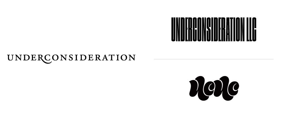 New Logos for UnderConsideration done In-house and Mark Caneso