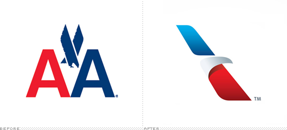American Airlines Logo, Before and After
