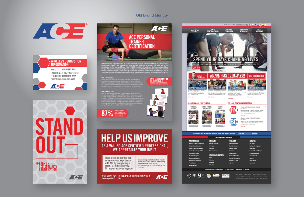 New Logo and Identity for American Council on Exercise (ACE) done In-house