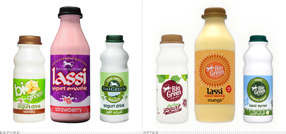 Bio Green Dairy Packaging, Before and After