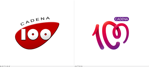Cadena 100 Logo, Before and After