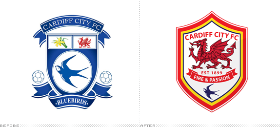 Cardiff City FC Logo, Before and After