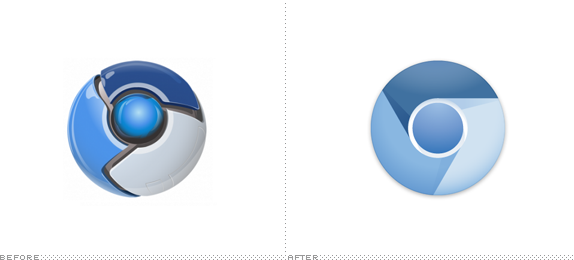Google Chrome Logo, Before and After