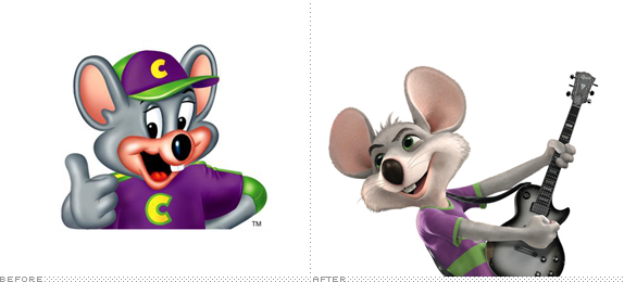 Chuck E. Cheese Logo, Before and After