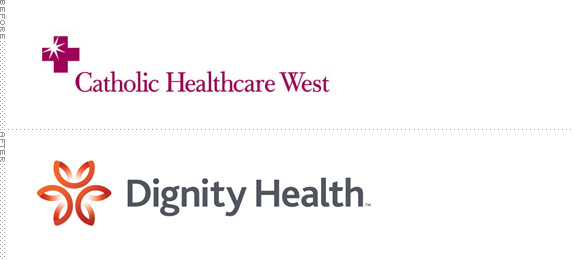 Dignity Health Logo, Before and After