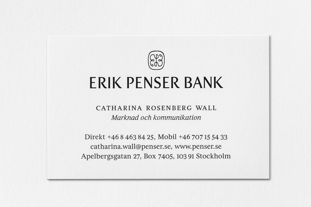 Brand New: New Logo and Identity for Erik Penser Bank by Bedow