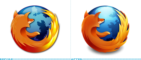 Firefox Logo, Before and After