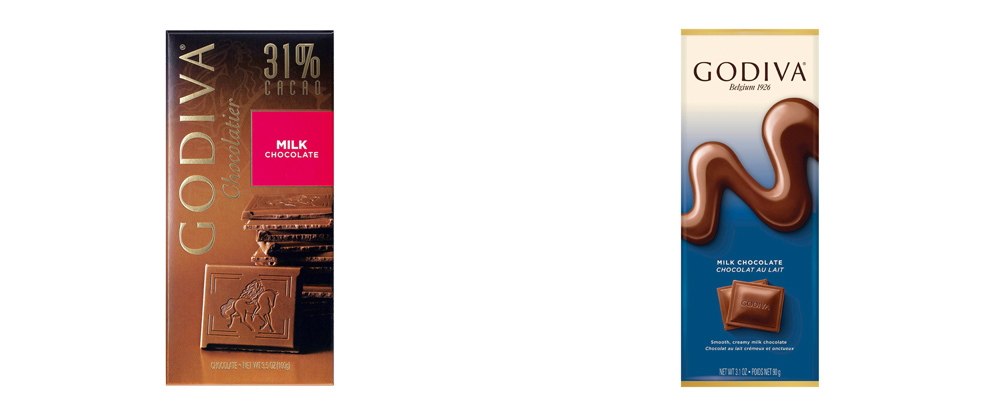 New Packaging for Godiva Chocolate Bars by Pearlfisher