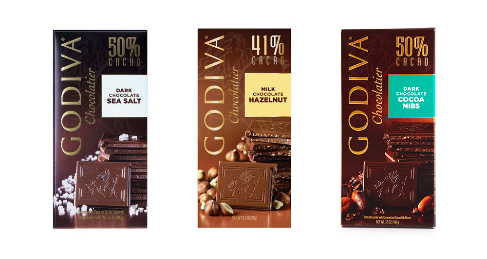 Brand New: New Packaging for Godiva Chocolate Bars by Pearlfisher