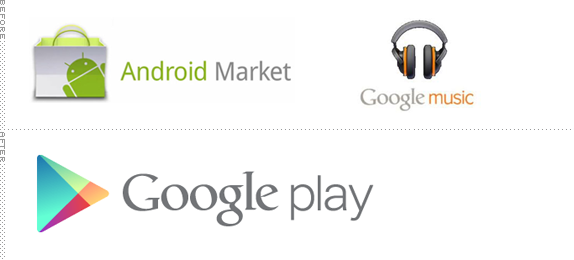 Google Play Logo, Before and After