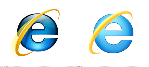 Internet Explorer Logo, Before and After