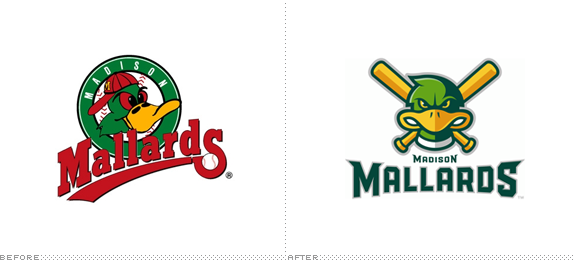 Madison Mallards Logo, Before and After