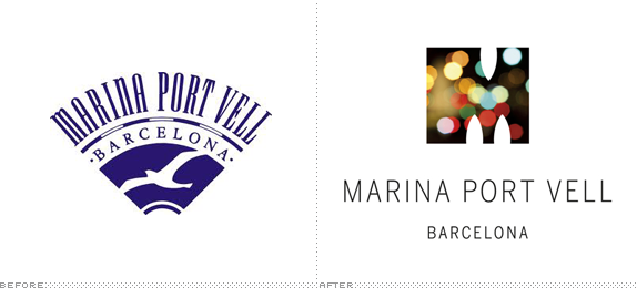 Marina Port Vell Logo, Before and After